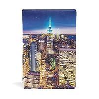 ブックカバー 文庫 a5 皮革 レザー ニューヨークの夜景 アメリカ 文庫本カバー ファイル 資料 収納入れ オフィス用品 読書 雑貨 プレゼント