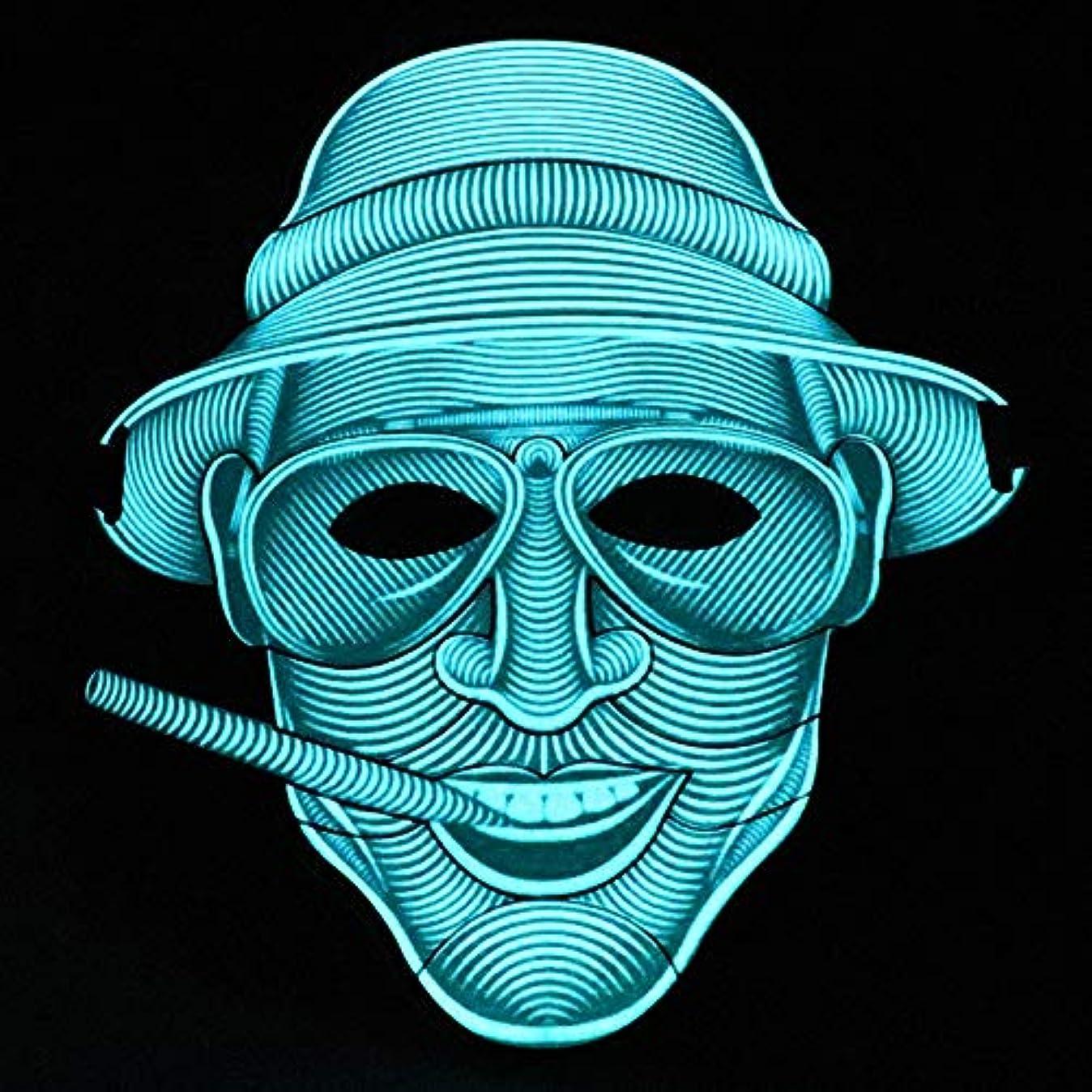 行為蜂皮肉照らされたマスクLED創造的な冷光音響制御マスクハロウィンバーフェスティバルダンスマスク (Color : #17)