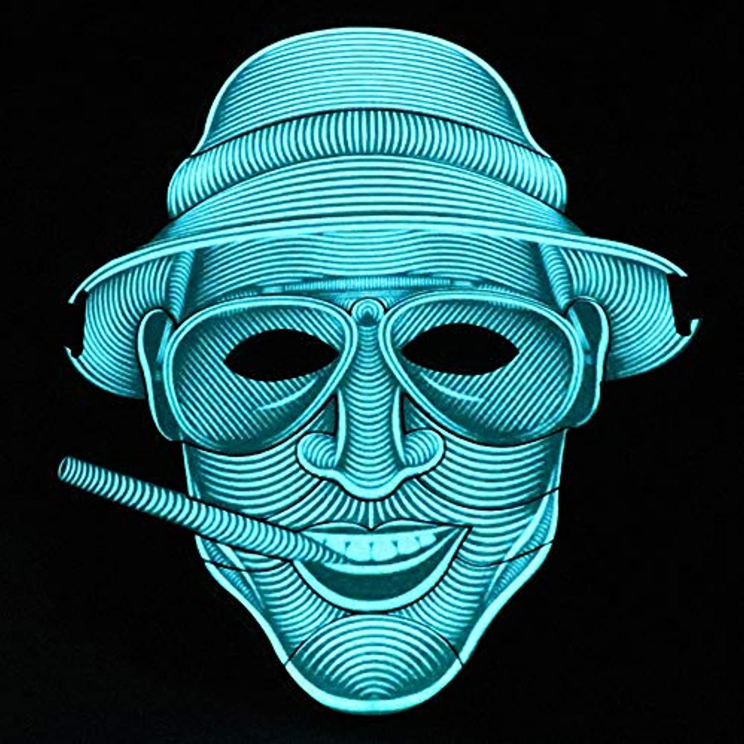 カプラーストライクグラフィック照らされたマスクLED創造的な冷光音響制御マスクハロウィンバーフェスティバルダンスマスク (Color : #17)