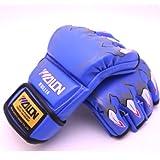 オープンフィンガーグローブ パンチンググローブ 総合格闘技 MMA UFC トレーニング 拳ガード ハーフフィンガー グローブ テコンド 野獣4色/aja flowers(青)