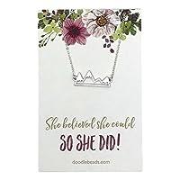 """卒業式ネックレス、彼女は彼女と信じられcould so she did Mountainネックレスシルバー, with 16""""–18"""" Sparklingチェーン"""