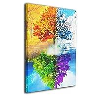 BLI BYAN 虹の木アートフレーム・ポスター 額縁なし フレームレス装飾画 壁掛け クジラ 印刷する絵画 家の壁の装飾画 アートパネル 玄関 インテリア タペストリー 引き越し