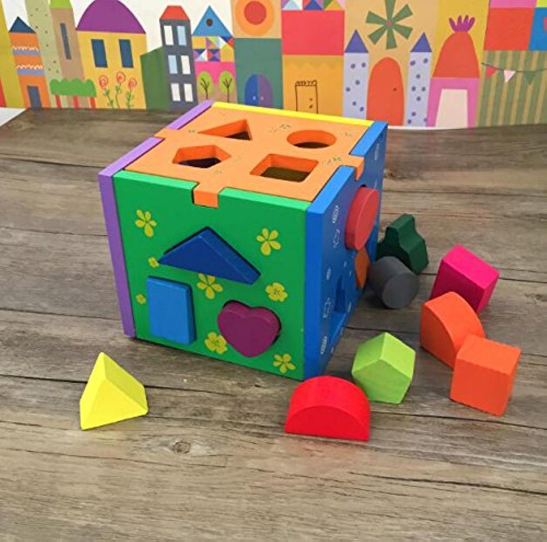 HuaQingPiJu-JP 子供のためのカラフルな木製の形状のソーター教育形状の色認識玩具