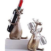 レトロクリエイティブワインラックカップホルダー鹿装飾品リビングルームダイニングルームワインキャビネット樹脂クラフト装飾 (Style : Hold the bottle)
