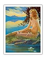 ヌード・バイ・ザ・レイク - ヴィンテージピンナップガール によって作成された メイベル・ローリンズ・ハリス c.1930s - アートポスター - 28cm x 36cm