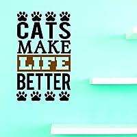 割引ビニール壁デカール: Cat Make Life Betterホームインテリア写真アート20インチx 40インチ