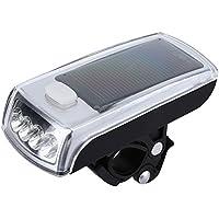 自転車 サイクリングライト LEDヘッドライト 前照灯 バイク安全灯 フロントランプ 防水 ソーラー&USB充電式 高輝度 3モード 夜間走行安全 防災 懐中電灯 アウトドア