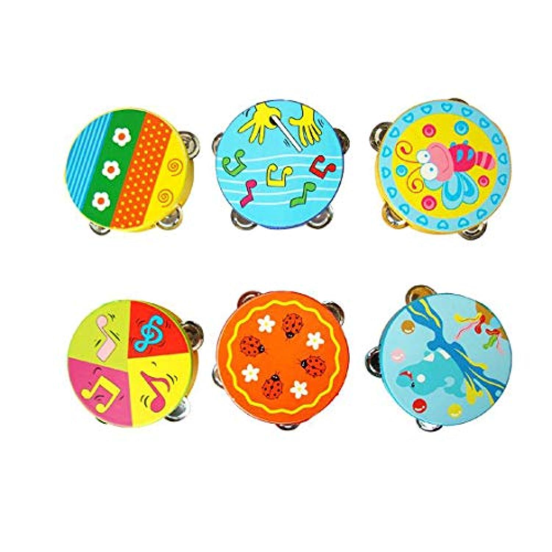 AVITMOS 子供用教育カートゥーン木製ドラムガラガラおもちゃ (色はランダム) ベビーハンドドラムおもちゃ ミュージカルドラムガラガラガラガラ ビート楽器 ハンドベル キッズギフト