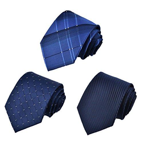 Tarudol.R ネクタイ メンズ ビジネス 洗える ネクタイ 3本セット人気 チェック柄 小紋 格子 ストライプ ドット 結婚式 就活 プレゼント父の日 (Style-1/グリッド&ブルー)