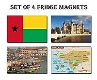 ギニアビサウのセット4冷蔵庫マグネット冷蔵庫磁石ギニアビサウ–ギニアビサウ国旗ギニアビサウマップAttractions
