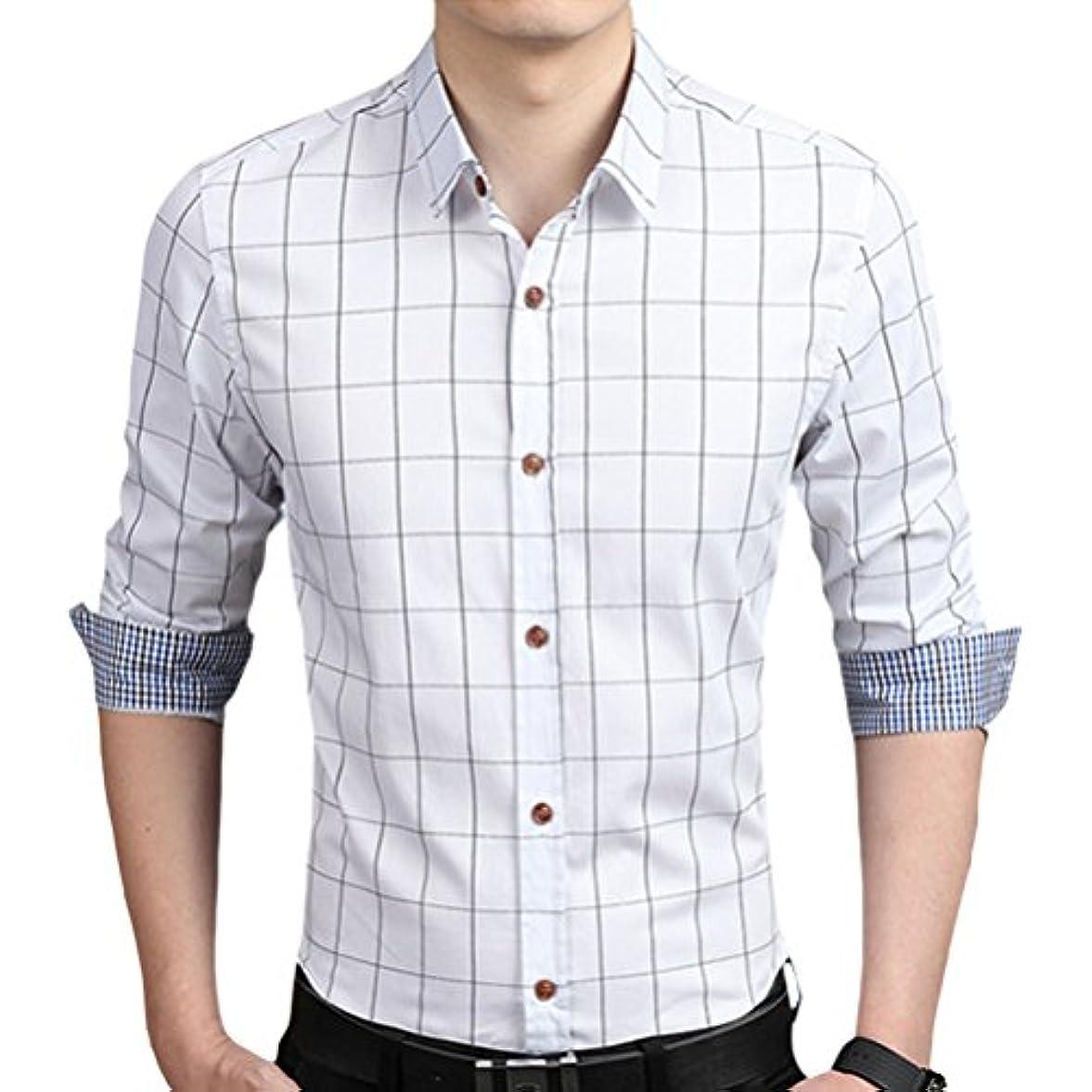 神のスタンドメタン輝姫 ブラウス  チェック柄  折り袖 長袖  ボタン  メンズ  シャツ カジュアル  ビジネス  スリム ファッション (M, ホワイト)