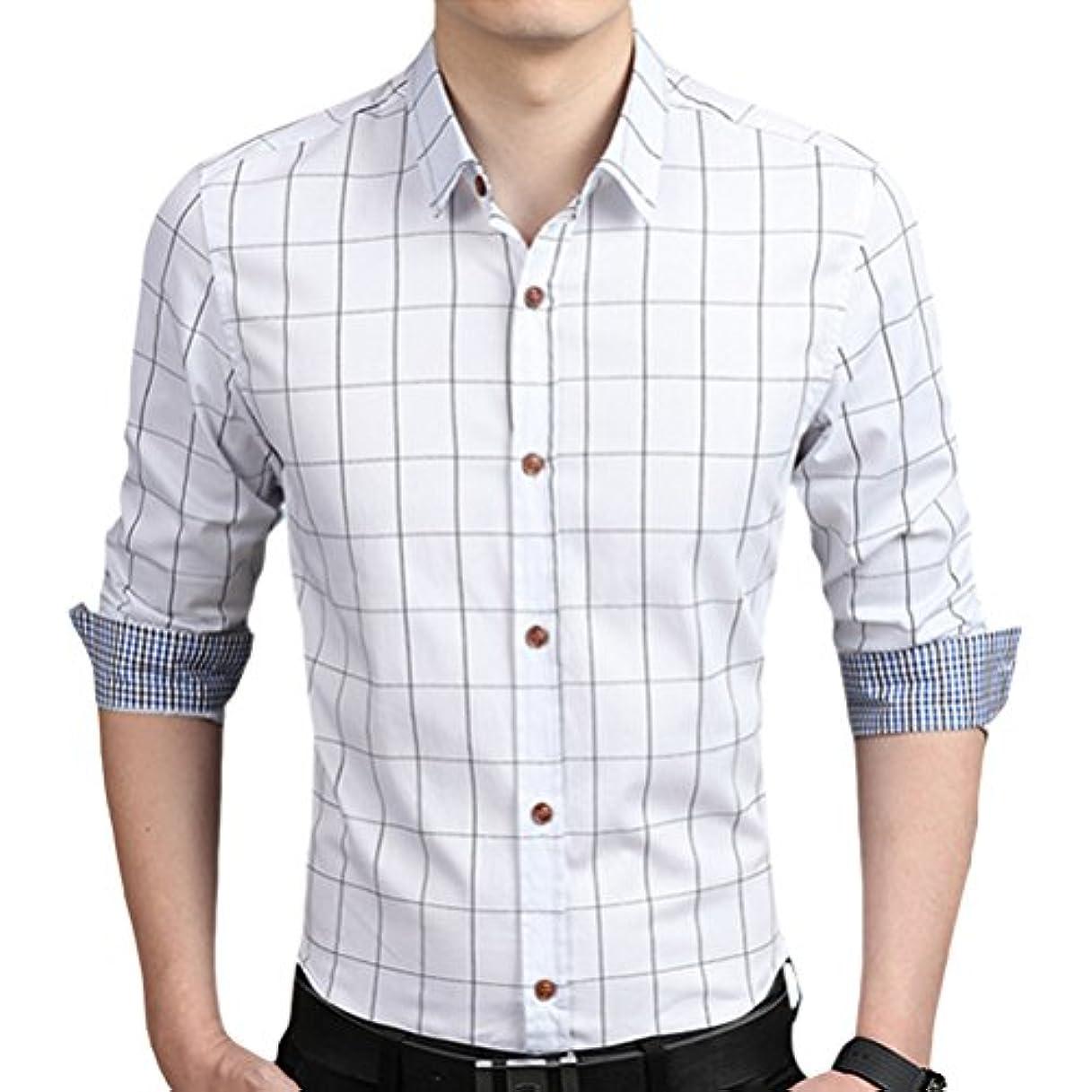 竜巻蓮愛国的な輝姫 ブラウス  チェック柄  折り袖 長袖  ボタン  メンズ  シャツ カジュアル  ビジネス  スリム ファッション (2XL, ホワイト)