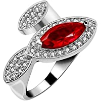 Uloveido Women's Unique Platinum Plated Oval Cut CZ Eye Shape Exaggerated Big Cocktail Ring Wedding Enagement Jewelry Size 6 7 8 9 (Gift Box) J318