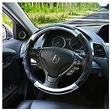 ハンドルカバー 軽自動車&普通車兼用サイズ:直径38cm 適応サイズ:37-38㎝ 触感よく、汚れ防止 高級感と質感にこだわった本革調タイプ (黒銀)