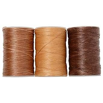 蝋引き糸 ロウ引き糸 60m よく使う ナチュラルカラー 3個セット (ブラウンナチュラル) ワックスコード 紐 糸 革 レザークラフト (Harvestmart)