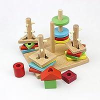 Goodgoods 木製ブロック 3Dパズル キッズ 組み合わせ 知育玩具 013-lzgy-sd2522(16*16cm 約650g)
