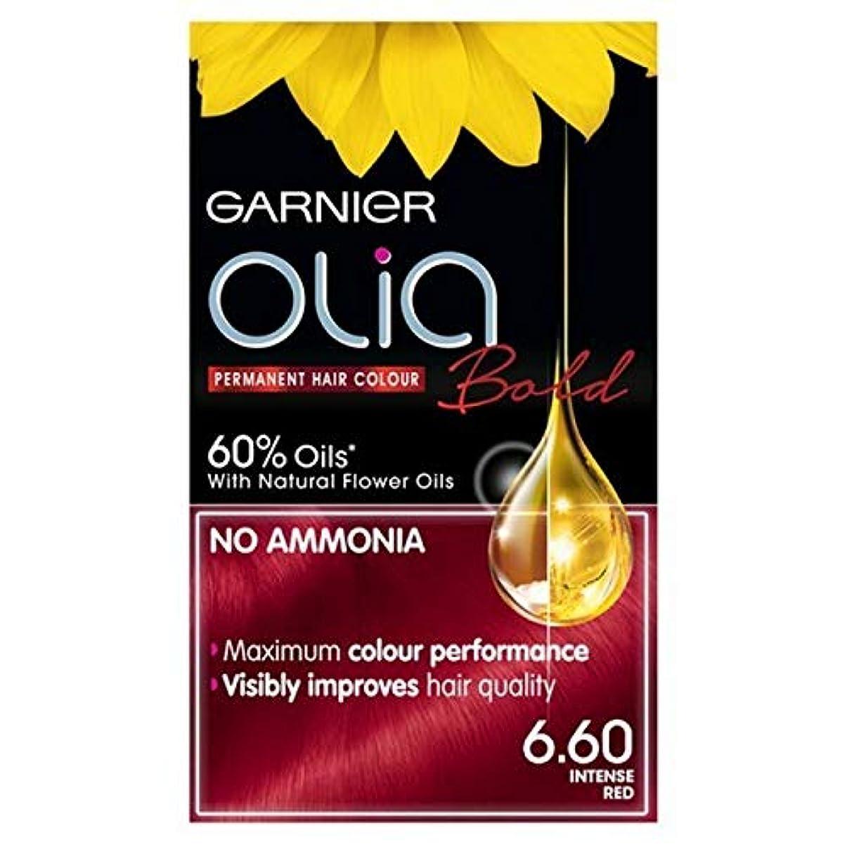 操る永遠の寺院[Garnier ] ガルニエOlia大胆永久染毛剤強烈な赤6.60 - Garnier Olia Bold Permanent Hair Dye Intense Red 6.60 [並行輸入品]