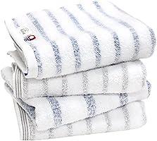 hiorie(ヒオリエ) 今治タオル 認定 mist ミスト フェイスタオル 4枚セット 日本製 透かし織 ボーダー 今治ブランド