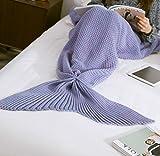 KAZOKU 毛布 ブランケット ケット お昼寝毛布 可愛いブランケット 人魚タイプ マーメイド 冷房対策にも最適 人魚姫に変身 人魚コスチューム 可愛いひざ掛け マーメイド 着る毛布 暖かい 柔らかい 防寒 180CM*80CM (パープル)