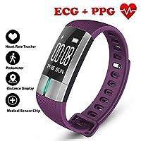 歩数計フィットネストラッカースマートブレスレット ECG & PPG モニタリングリアルタイム心拍数血圧スポーツ用アンドロイド iOS,Purple