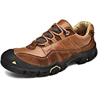 PANFU-AU Lace Up Genuine Leather Mush Sponge Solid Stitches Cushioning Soles Cap Toe Ankle Support Work Boot for Men Climbing Hiking Shoes