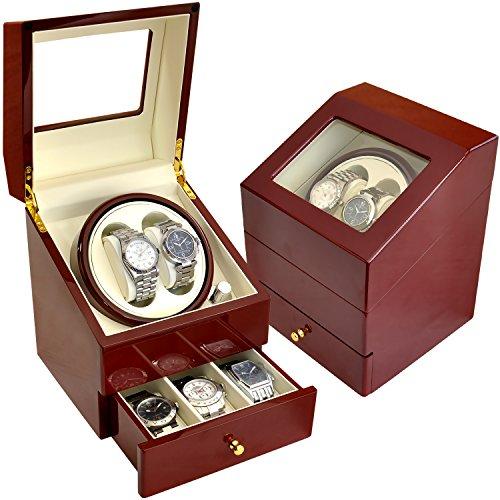 ベルソス 【7色から選べる】 ワインディングマシーン 2本巻き 静音設計 収納BOX付き VS-WW022 (ワインレッド×アイボリー)