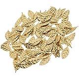 Perfk 約100枚 ミニ リーフ 葉の形 サテン アップリケ 人形 クラフト 縫製 手作り 材料 3色選べる - ゴールド