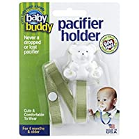 Baby Buddy Pacifier Holder, Cute, Fashionable Bear Clips onto Baby's Shirt, Snap Other End Around Pacifier, Rattle, Toy-For Babies 4 Months and Up-Pacifier Clip for Both Boys & Girls Green by Baby Buddy