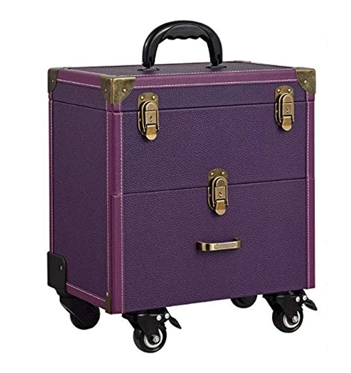 利得人口学んだ化粧箱、大容量二層トロリー化粧品ケース、ポータブル旅行化粧品バッグ収納袋、美容化粧ネイルジュエリー収納ボックス (Color : Purple)