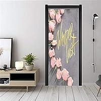 ドアステッカー壁紙壁画ピンクローズ改装ウォールステッカー自己接着PVC 77x200cm寝室用子供部屋リビングルームインテリアドアデコレーション