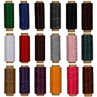 RMTIME 蝋引き糸 ロウ引き糸 ワックスコード カラフル 18色セット 各50m 手縫い DIY 紐 糸 革 レザークラフト 1mm直径
