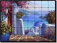 "Memories of Greece by Mikki Senkarik – Seascape Tumbled大理石Mural 24 "" x 32 ""キッチンシャワーBacksplash"