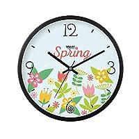 大きな丸い壁時計、金属フレームクォーツ時計リビングルーム壁掛け時計ポインター時計寝室のサイレント時計ガラス時計,A,12inches