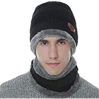 YAMENUSA Men's 2-Pieces Fleeced Lining Winter Beanie Hat Scarf Set Warm Knit Hat Thick Knit Skull Cap for Men