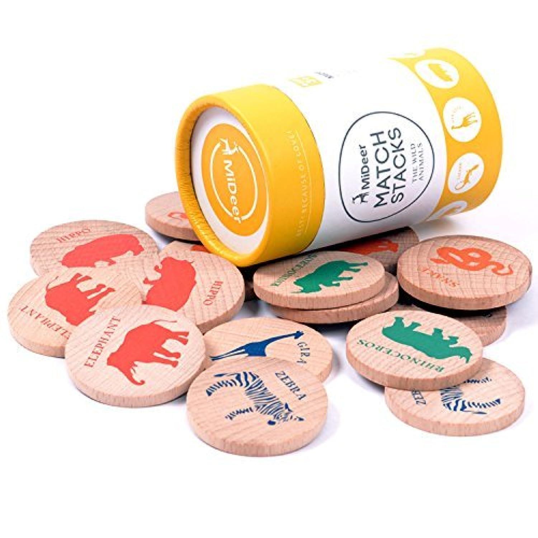 USATDD Wooden wildlife Animals Match Stacks Memory Matching Game Educational Toy