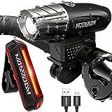 自転車ライト HODGSON テールライト ヘッドライト USB充電式 LED 高輝度 200LM フロントライト 防滴 黒