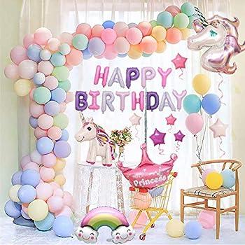 風船 誕生日 飾り付け 3D ユニコーン パーティー風船 セット ハッピーバースデーパーティー女の子と男の子のためのユニコーンバルーン誕生日装飾セット