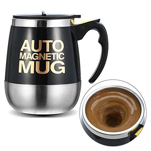 Ysinobear マグカップ 自動ミキサーカップ 電動シェーカー ステンレス製 マグネット 自動 撹拌 大容量 450ml クリーン簡単 漏れ防止 (ブラック)