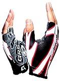 (ハイハイワールド)HHW 夏用 サイクリング グローブ 自転車 手袋 衝撃 吸収 GEL ゲルパッド 付き タッチパネル 対応 黒半L (34.L ブラックハーフ)