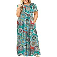 POSESHE Women Plus Size Long Sleeve Plain Casual Long Maxi Dress with Pockets