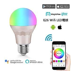 Magic Hue WiFi スマートLED RGBW1600万色電球AlexaとGoogle Homeで使用, 日の出と日没 ワイヤレスタイミング操作調光 調色モードライト WiFi操作 スマホン 非常灯 スマートフォンコントロール 用の新しいマジックホーム E26 (60W光度相当)