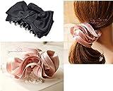 【CandyBox】 上品 パール 調 リボン 髪飾り クリップ シュシュ バレッタ … (リボンBセットクロ)