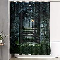 フック付きシャワーカーテン 怖い門ダークホーンテッドオールドハウスアート バスルームの装飾バスカーテン - 150×180 cm