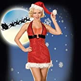 キラキラシークイン♪薄っすら透ける胸元☆思わせぶりな悩ましいクリスマスコスチューム(アメリカMサイズ=日本のLL相当)  D-H-5244