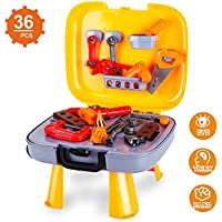 子供用ツールセット、Construction Toys for Pretend play-36 PCの修復アクセサリー&ツールボックスfor Boys and Girls