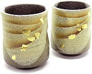 九谷焼 夫婦湯のみ 金箔彩 陶器 和食器 湯呑み茶碗 日本製