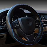 Valleycomfy Car Steering Wheel Cover Genuine Leather Universal 15 Inch, Breathable, Anti Slip & Odor Free (Black with Blue Lines)