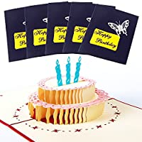 LUCKSTAR 3d誕生日カード–5- Pack 3d Pop Up Happy誕生日ギフトグリーティングカードHappy Birthday Cake With 3キャンドルGreat Gift for Family Friends ブルー