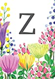 """Z: Letter Z Initial Monogram Name Notebook for Women Girls School Pink, Blue & Yellow Floral 200 pages College Lined and Blank paper 6.69"""" x 9.61"""""""