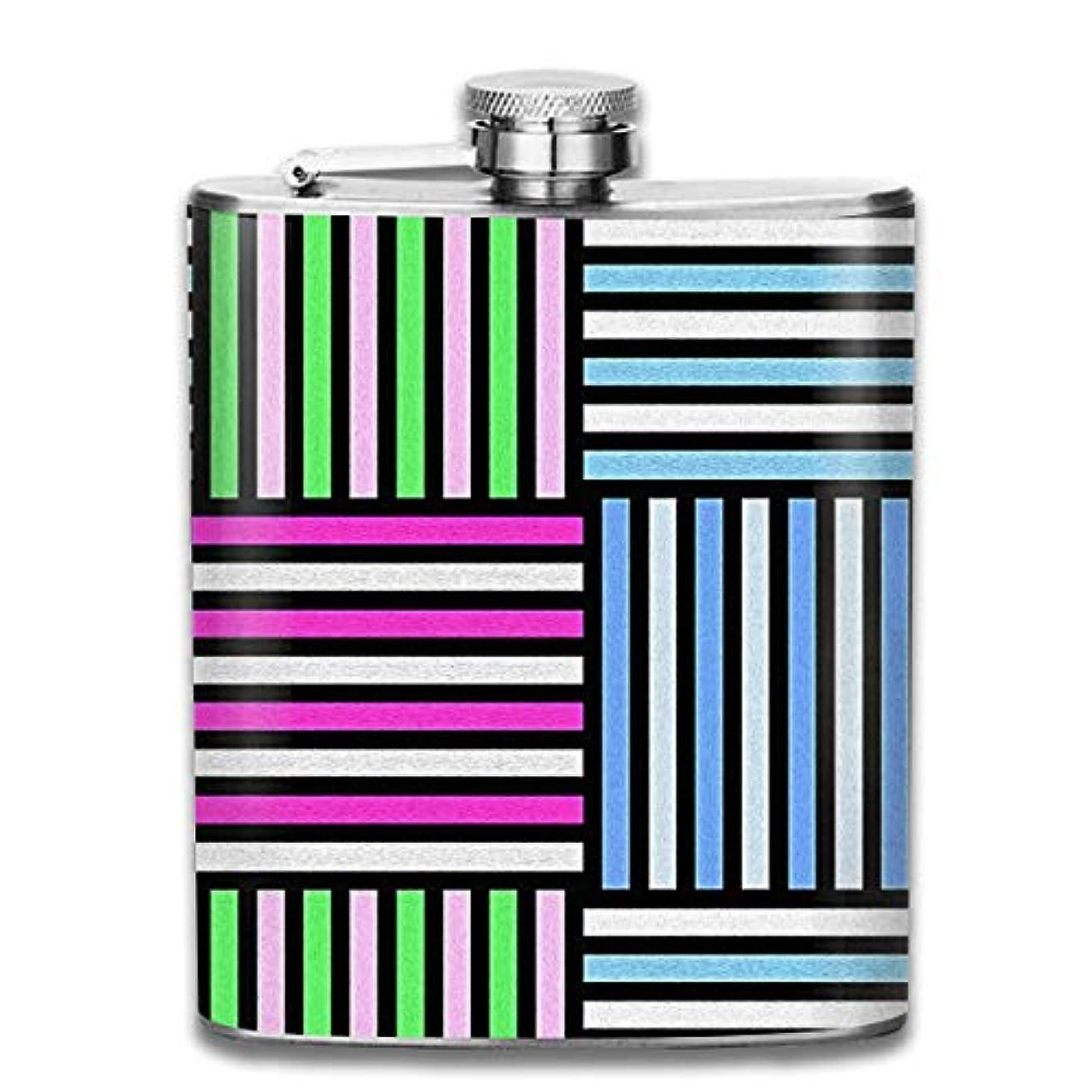 印象的カリング嘆願カラフルなストライプ フラスコ スキットル ヒップフラスコ 7オンス 206ml 高品質ステンレス製 ウイスキー アルコール 清酒 携帯 ボトル